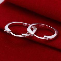 925-sterling-silver boucles d'oreilles, 925 bijoux en argent plaqué mode bijoux, Flat Round Square boucles d'oreilles E123 / chmakyta dyuamqba