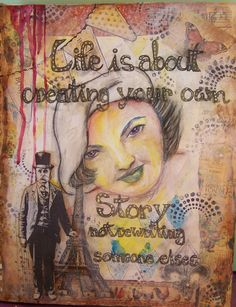 Mon Ami (T Harrison) - Another fun to create journal page... water colour portraiture surrounded by collage, stenciling, and stamping