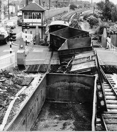 Basford Crossing Derailment 1970. Railroad Pictures, Steam Railway, Steam Engine, Steam Locomotive, Nottingham, Train Station, Ghosts, High Boots, Gates