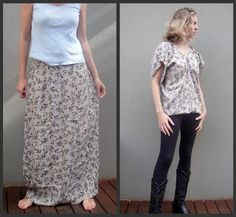 A simple refashion, from a full length skirt, to v neck top, in 4 easy steps.
