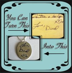 Large Size - Memorial Jewelry Your Actual Loved Ones Writing Silver Necklace - Made to order, via Etsy.