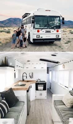 There are a lot of people around the world dreaming about tiny house and go for their dream! You will find 30 awesome examples of perfect School Bus and van conversions into tiny House - for couples, for family of for one person and so one. Bus Living, Tiny House Living, Van Life, Astuces Camping-car, School Bus Tiny House, Converted School Bus, Kombi Home, Remodeled Campers, Tiny House Design