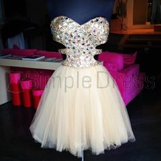 Simple Dress Stunning S-line Sparkle Short Beige Tulle Prom Dresses/Homecoming Dresses/Party Dresses TUPD-7138
