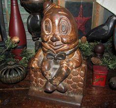 Antique Vtg Original 1920's Large Humpty Dumpty Cast Iron Metal Still Penny Bank #NaivePrimitive