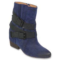 Naya Fisher Dark Blue Oiled Suede/Black Leather