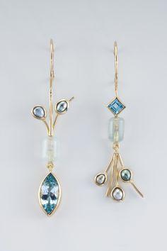 Janis Kerman Aqua bead, blue topaz, keshi pearls earrings
