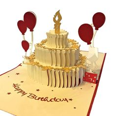 Vietnamese Hand-made Pop-up Card - Birthday Cake with Red Balloons