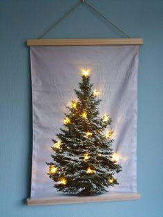 Kerstboom op Doek met 15 LED - Canvasscherm.nl
