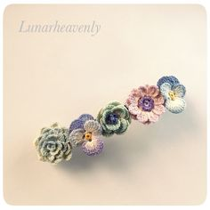 irish crochet, floral hair clip by Lunarheavenly