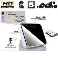 Geek | Mirror Table Clock Spy Hidden Camera DVR with Remote Control Camcorder Support 4GB 8GB 16GB 32GB Memory Card (Color: Black)