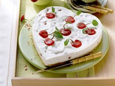 A beautiful Valentine's Day cake that will really prove your love: cherry yogurt cake recipe from easydessertrecipes.org