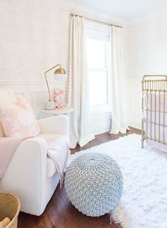 Love the curtains! Mom + Dad, Ashley & Dallas Malone, put their vision for a soft and feminine blush nursery in the hands of designer Alyssa at CoCo+Jack. It's as bright and beautiful as baby Isla Mae.