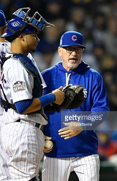 Willson Contreras,Joe Maddon,CHC//Oct 29,2016 World Series Game 4 v CLE
