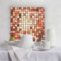 "Mosaic Art for kitchen  ""Mosaic 34"" 16x16"