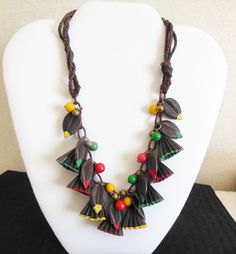 Fabulous Frank Hess Miram HASKELL Hand Painted CELLULOID Dangles and Wooden Beads Vintage 30's Early 1940's Arts & Crafts Necklace by IncogneetoVintage on Etsy