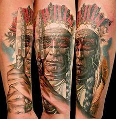 Realism Indians Tattoo by Gunnar V Tattoo - http://worldtattoosgallery.com/realism-indians-tattoo-by-gunnar-v-tattoo/