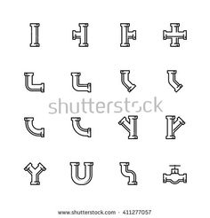 Find Pipes Pipeline Fittings Vector Icon Set stock images in HD and millions of other royalty-free stock photos, illustrations and vectors in the Shutterstock collection. Thousands of new, high-quality pictures added every day. Branding Design, Logo Design, Graphic Design, Plumbing Drawing, Water Logo, Modern Logo, Logo Inspiration, Vector Icons, Icon Set