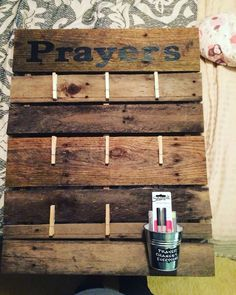 Prayer board made from recycled wood pallet ! Perfect for your war room . Pairs nicely with a mason jar for answered prayers to count your answered prayers at the end of the year ! I guarantee your blessings will far exceed your needs each year !