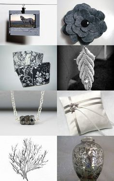 --Pinned with TreasuryPin.com Lovely shades of gray.  My hair clip is in this treasury.