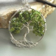 Peridot Tree of Life Pendant Necklace with Sterling Silver Chain -Wire Wrapped Peridot Gemstone Necklace- August Birthstone