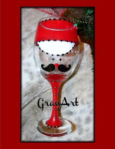 Nutcracker Wine Glass Red, Toy Soldier Wine Glass, hand painted and fired to preserve the paint by GranArt. Hand wash and dry and the art work will last a long time.