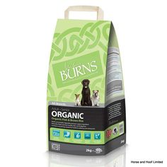 Burns Organic Fish Brown Rice Dog Food 2kg Burns Organic Dog Food is a complete low fat higher fibre food for all adult dogs and seniors Made using the finest quality organic sources of fish for protein Burns Organic contains everything an adult dog needs for lifelong health and vitality.