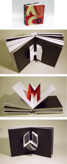 This is a pop-up ABC Book by Marion Bataille. I just love the movement of this piece as the pages and letterforms flow from one to another. It is also interesting how the artist combines letters like I and J into one spread and O, P, Q, and R into one spread.