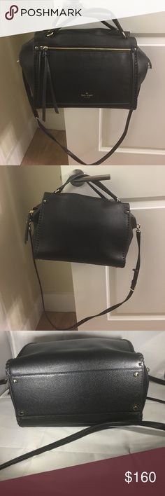Kate Spade bag Black leather bag by Kate Spade. Zippered closure. Zippered pocket on front. New without tags. kate spade Bags