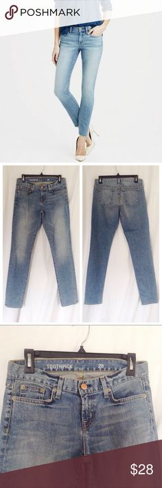 J. Crew Toothpick Skinny Jeans The Toothpick skinny jean from J. Crew. Size 28. 31 inch inseam. Gently used. J. Crew Jeans Skinny