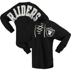 854a179c Oakland Raiders NFL Pro Line by Fanatics Branded Women's Spirit Jersey Long  Sleeve Lace Up T-Shirt - Black