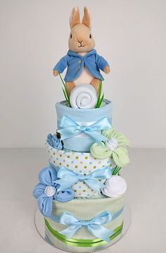 Nappy Cakes by Emma Baby Shower Parties, Baby Boy Shower, Baby Shower Gifts, Baby Gifts, Baby Nappy Cakes, Diy Diaper Cake, Beatrix Potter, Baby Gift Hampers, Baby Hamper