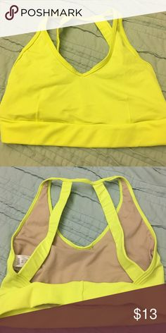 Backless sports bra - Small Dancewear Solutions sports bra - size small. Only worn once. Neon yellow Balera Tops Crop Tops