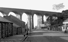 Hengoed, the Viaduct 1952. Dating from 1857, it once carried one of the busiest railways in South Wales. The line is long-since closed, but this towering sixteen-arch structure stands as a lasting reminder of Victorian skill and energy.
