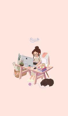 Art And Illustration, Illustrations, Cartoon Cartoon, Cartoon Kunst, Kawaii Wallpaper, Girl Wallpaper, Wallpaper Ideas, Cute Wallpaper For Girls, Drawing Wallpaper