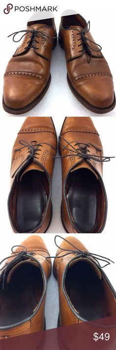 """Allen Edmond 10.5D Light Brown Derby Shoes Allen Edmonds leather shoe for sale. These are from the, """"Clifton"""" line The top leather has moderate sign of wear with darker spots on the toe area and minor scratches around the side and heels. The insoles show wear and bottom leather soles are worn. The heels show a gap between it and the shoe shown in the last picture. Overall heels are even and level to floor with wear on the outside edges.  Size: 10.5D Length: 12"""" back of heel to front of toe…"""