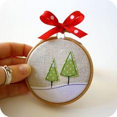mini embroidery hoop ornament