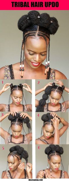 Easy tribal braids braided updo diy to do at home. Get the step-by-step instructions for this natural hair updo tutorial. Using Marley braiding and hair beads to create this updo hairstylesInformations About Tribal braids natural hairstyle updo with Natural Braided Hairstyles, Natural Hair Updo, Protective Hairstyles, Bun Hairstyles, Natural Hair Styles, Black Girl Updo Hairstyles, Hairstyles Videos, Hairstyles 2018, Hairdos