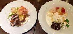 デニーズ、桃のデザート2種。 左: フレッシュ桃のポップオーバー 右: フレッシュ桃のパブロバ