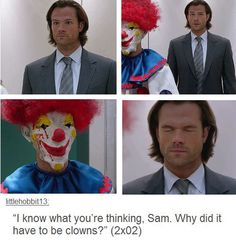 It suddenly occurred to me, the irony of Sam Winchester and The Joker being my favorite characters. They would not get along, for multiple reasons. Sam Winchester, Winchester Brothers, Dean Castiel, Supernatural Memes, Supernatural Season 11, Cw Series, Super Natural, Superwholock, Favorite Tv Shows