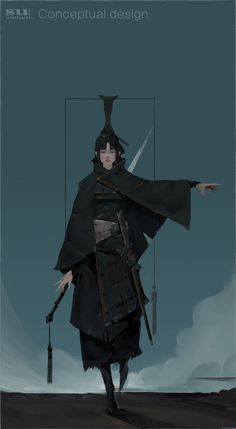 By zhihui Su Female Character Design, Character Design Inspiration, Character Concept, Character Art, Concept Art, Dnd Characters, Fantasy Characters, Female Characters, Female Samurai