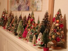Love This Idea. Mini Christmas Tree Forest For The Mantel. Merry Little Christmas, Noel Christmas, Vintage Christmas Ornaments, Retro Christmas, Country Christmas, Christmas Tree Glitter, Victorian Christmas, Simple Christmas, Decoration Christmas