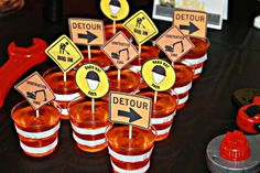 Orange jello cups at a construction birthday party! See more party planning ideas at CatchMyParty.com!
