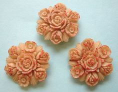 3 Vintage Large (35mm) Japanese Celluloid Flower Buttons, Cream/Red