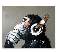 Art Painted By Hand Oil Paintings Listen to Music Gorilla Canvas Wall Art Decor #worldwidemark3t