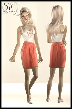 White top and peach skirt