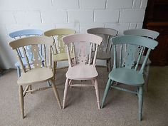Painted Solid Beech /Pine Farmhouse Fiddle Back Kitchen / Dining Chairs Pine Table And Chairs, Pine Dining Table, Painted Dining Chairs, Dining Room Chairs, Furniture Chairs, Kitchen Furniture, Dining Rooms, Country Kitchen Tables, Kitchen Dining