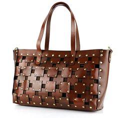 Lixmee women checked leather vintage tote bag - Lixmee  - 1