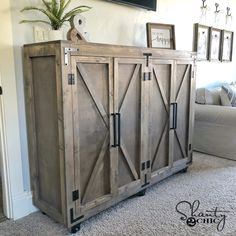 DIY Farmhouse X Storage Cabinet - Shanty 2 Chic - Hey friends! Today I'm sharing a piece I designed and built to go in my bedroom. I built this - Diy Furniture Plans, Farmhouse Furniture, Furniture Projects, Rustic Furniture, Furniture Makeover, Cool Furniture, Furniture Removal, Diy Storage Furniture, Cabinet Furniture