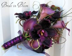Wedding Bouquet real touch calla lily orchid plum lilac purple bridal flowers. $100.00, via Etsy.