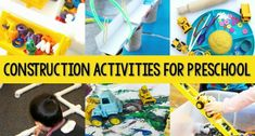Collection of activities for construction or building theme for preschool, pre-k, or kindergarten classrooms. Pre-K activities related to community helpers or construction workers. STEM-related ideas for preschoolers.
